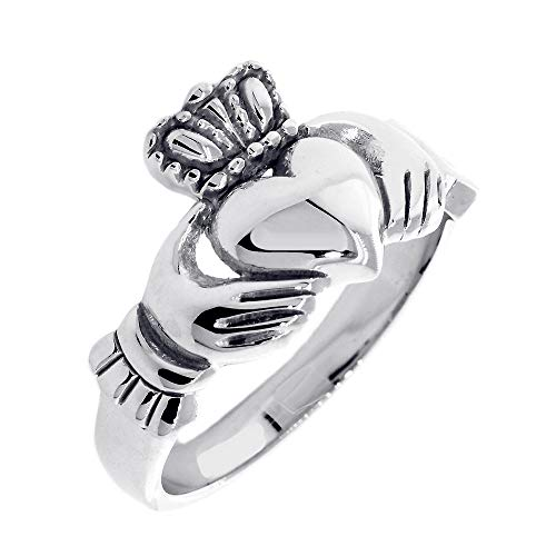 Gents or Ladies Claddagh Wedding Ring in Sterling Silver size 8.5