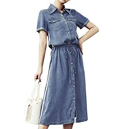 GGUHHU Womens Cute Elastic Drawstring Waist Side Stripe Pocketed Button-Up Long Denim Dress