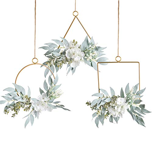 Pauwer Artificial Willow Leaves Metal Hoop Wreath Set of 3 Willow Leaves Greenery with White Silk Hydrangea Flower Hanging Wall Hoop -