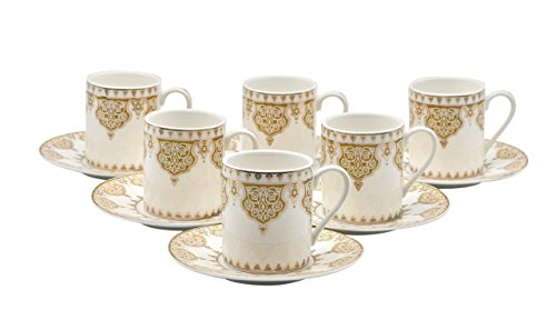 Porcelain Bone China Espresso Turkish Coffee Demitasse Set of 6 Arabesque Pattern Cups + Saucers (Gold) (Mocca Cup)
