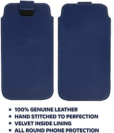 DOT Huawei P Smart 2019 Slim Real Genuine Soft Leather Pull Tab Slide In Pouch Sleeve Case Cover Blue