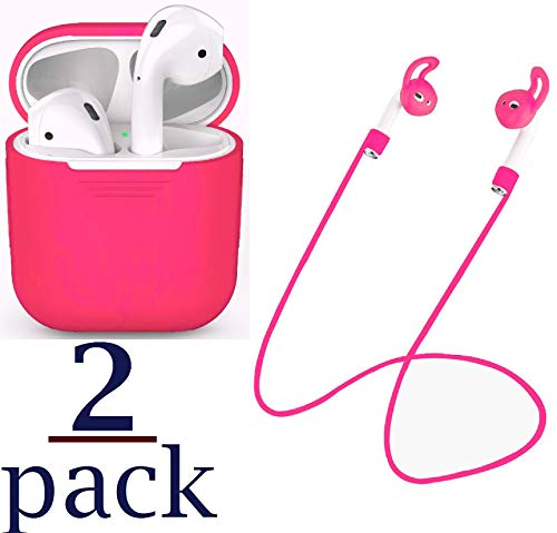 Josi Minea 2-in-1 Apple AirPods Accessories Kit - Protective Cover Skin for AirPods Charging Case & Earphone Anti-Lost Strap Rope - 2 Pcs AirPod Set [ Hot Pink ()