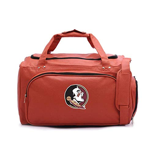Zumer Sport Florida State Seminoles Basketball Leather Travel Kit Duffel Gym Bag - Made from Genuine Basketball Materials - Shoulder Strap and Handles - Shoe Compartment - - Florida Gym Bag Seminoles State