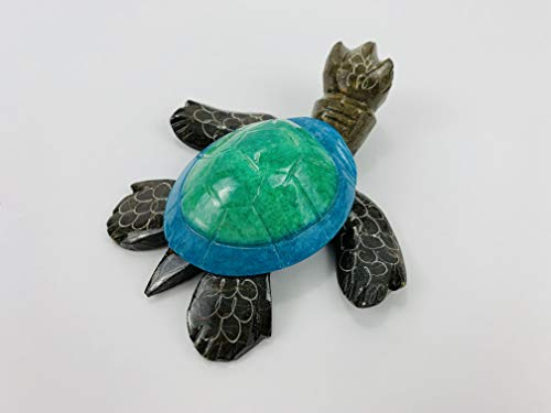 SuperDealsAmerica Stone Hand Carved Handpainted Turtle Statue Figurine Sculpture Gemstone - Green & Blue
