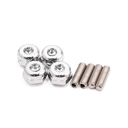 uxcell a17051700ux1463 4 Pcs Silver Tone Rhinestone Decor Car Vehicle Hexagon Shape License Plate Screw Bolt 4 Pack