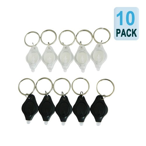 10 Pack Mini Keychain LED Flashlight | Micro Torch Light with Keyring