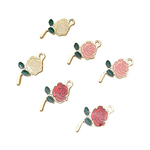 SANQIU 30PCS Mixed Color Enamel Rose Flower Charm for Jewelry Making and ()