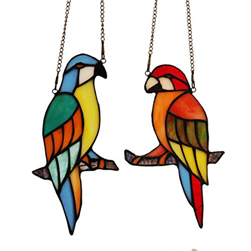 Makenier Tiffany Style Stained Glass Red and Blue Parrots Window Hanging Sun Catcher