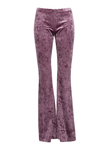 Womens Purple Velvet Flared Bell Bottom Pants – Size Large (Velvet Purple Pants)