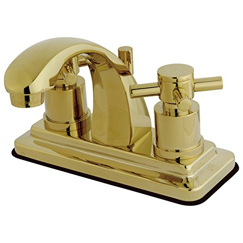 Kingston Brass KS4642DX Concord 4-Inch Centerset Lavatory Faucet with Concord Cross Handle, Polished Brass