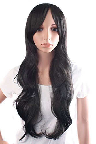 MapofBeauty 28 Inch/70cm Beautiful Charming Women Long Wave Curly Oblique Bangs Synthetic Wig (Black) ()