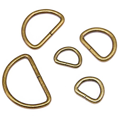 Swpeet 100 Pcs Bronze Assorted Multi-Purpose Metal D Ring Semi-Circular D Ring for Hardware Bags Ring Hand DIY Accessories - 1/2 inch, 5/8 inch, 3/4 inch, 1 inch, 5/4 inch ()