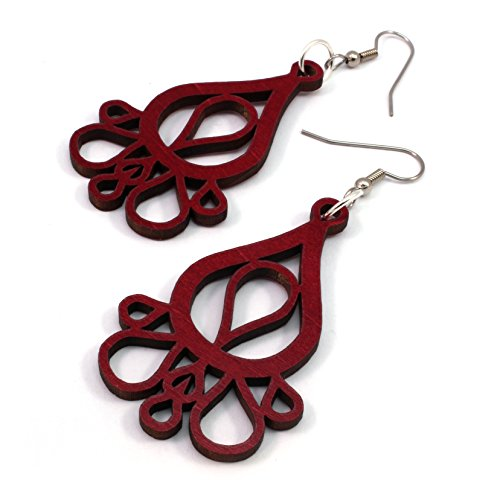 (Dripping Tears Earrings made of Sustainable Red-Stained Maple Wood Hook Dangle Drop Earrings )
