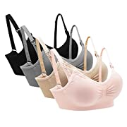 MIRITY Women's Seamless Maternity Nursing Bras Comfort Soft Sleeping Bralette Color Black Pack of 4 Color Pack of 4 Size XL
