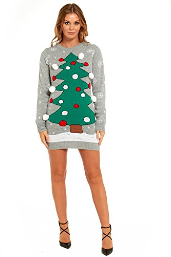 YOU LOOK UGLY TODAY Ladies Christmas Sweater Dress Womens Tunic Xmas Fairisle Top by YLUT, Christmas Tree-X Large