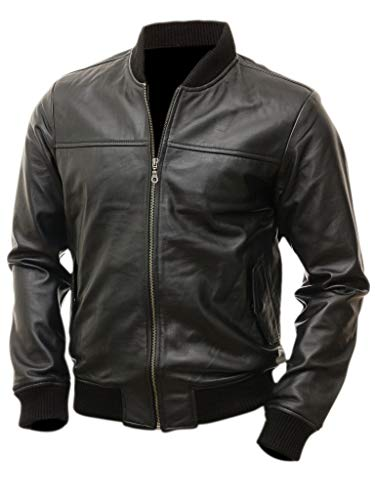 Varsity Bomber Leather Jacket Men | Genuine Lambskin Flight Military Tactical Jacket (Black, XX-Large) ()