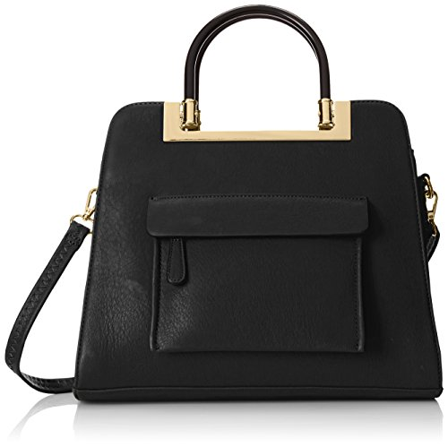 MG Collection Krista Structured Handle Tote Shoulder Bag Black One Size