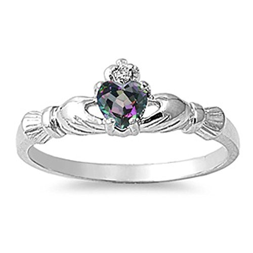 - Sterling Silver Irish Claddagh Friendship Ring Rainbow Simulated Topaz Heart Size 8
