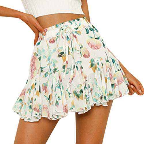 Thenxin Summer Sexy Casual Floral Print Mini Skirt for Women's Party High Waist Hip Short Skirt (White,L)