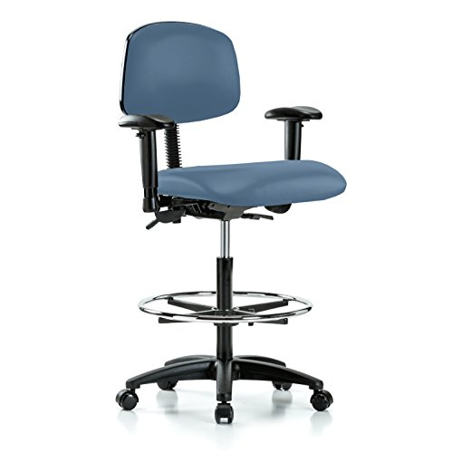 PERCH Multi Task Swivel Chair with Foot Ring and Wheels for Carpet or Linoleum, Counter Height, Newport Fabric