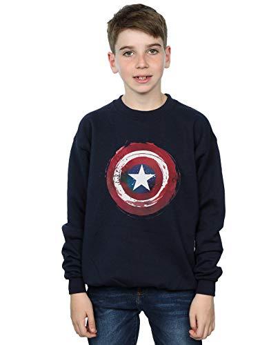 shirt Garçon America Bleu Shield Splatter Captain Marin Marvel Sweat YBw4P