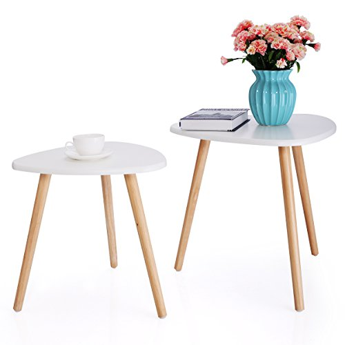 Set Solid Pine Coffee Table (JAXPETY Three Legged Bamboo End Table from STNDRD. • Modern Coffee Table • Real Bamboo Furniture • Environmentally Friendly Side Table for Magazines, Books & Plants (2 sets Triangle))