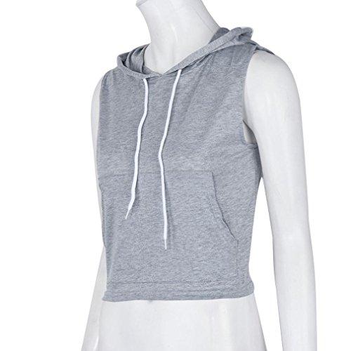 Amlaiworld Frauen arbeiten Sleeveless graue Strickjacke lose T-Shirt Grau