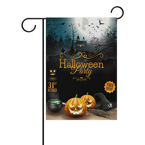 Flyss Halloween Party Flyer with Pumpkins Hat Scary Castle Garden Flag Banner28x40(in) Polyester for Home Yard Garden Decor Holiday Seasonal Flag Banner -