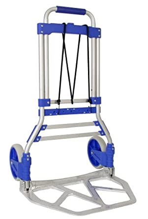 "RWM Casters FW-90C Aluminum Foldaway Hand Truck with Loop Handle, Blue, 275 lbs Load Capacity, 42-1/2"" Height, 19"" Width X 13-1/2"" Depth"