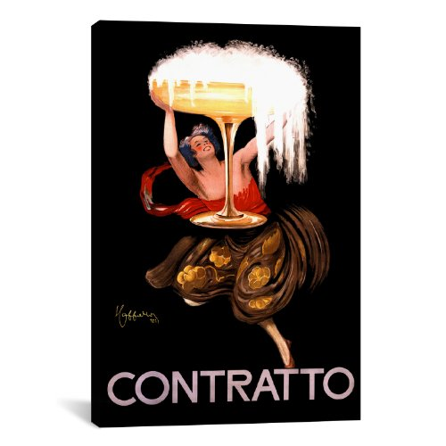 Cappiello Canvas Print - iCanvasART Contratto Champagne Wine Advertising Vintage Poster Canvas Art Print by Leonetto Cappiello, 18 by 12-Inch