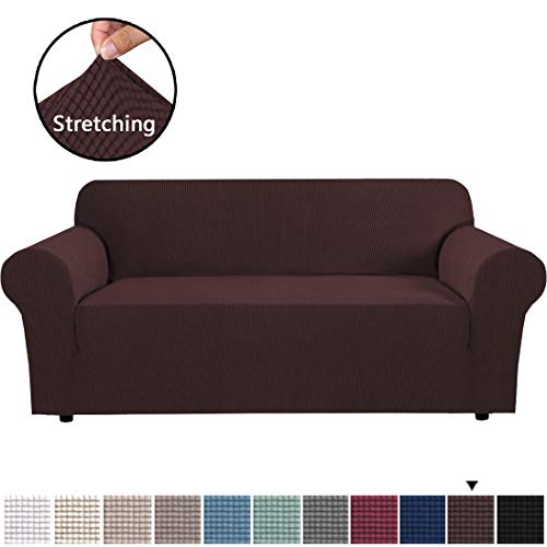 "H.VERSAILTEX Stretch Sofa Covers Couch Cover Furniture Protector Feature High Spandex Textured Lycra Sofa Slipcover Small Checks Jacquard Lounge Cover for 3 Cushion Sofa (72""-88"" Wide: Chocolate)"