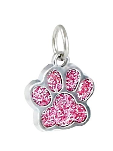 J&M Dangle Enamel Pink Cat/Dog Paw Charm Bead for Charms Bracelets