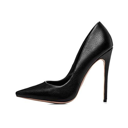 OL 12Cm Stiletto Longue Du Forme Pompes Journée Litchi Plate Talon De Black Étanche Chaussures Femmes Hauteur Navettage Bureau Pointé T8I4xIq1