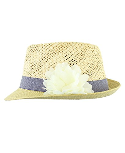 RuffleButts Baby/Toddler Girls Straw Fedora w/White Flower - 2T-5 (L)]()