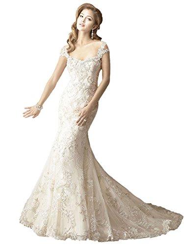 beaded angel sleeve wedding dress - 9