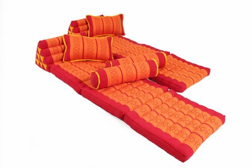Sunshine Set (2x foldable Thai Mat + 4 Thaipillows), Red&Orange, 100% Kapok filling! by Handelsturm