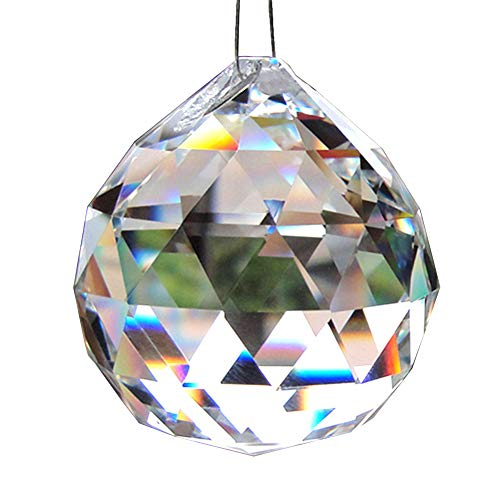 (Oun Nana Clear 50mm Glass Crystal Ball Prism Pendant Faceted Chandelier Crystal Parts Hanging Pendant Lighting Ball Suncatcher Wedding Home Décor)