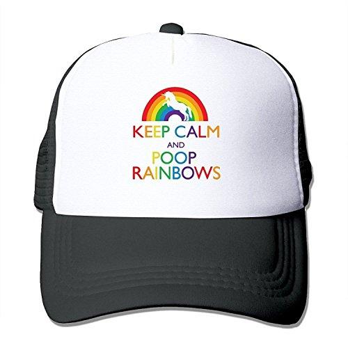 (HATS NEW Personalized Flat Billed Caps Keep Calm and Poop Rainbows Truker Visor Cap Black)