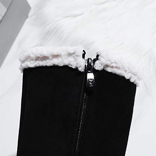de Fondo de Invierno Mujer otoño Grueso Alto Gamuza Tubo Nieve Fondo Plano black Alto Nieve Botas de Comodidad Botas Botas Sandalette Zapatos Tubo para de Botas de de de DEDE gp6awp