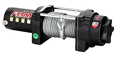 Tungsten4x4 F5500 2.1 HP ATV/UTV Electric Utility Winch with Hawse Fairlead and Synthetic Rope, 5500lbs Capacity