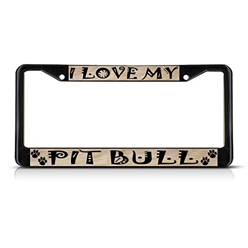 Pit Bull License Plate Frame - License Plate Covers PIT BULL Dog Pet Black Metal License Plate Frame Tag Border