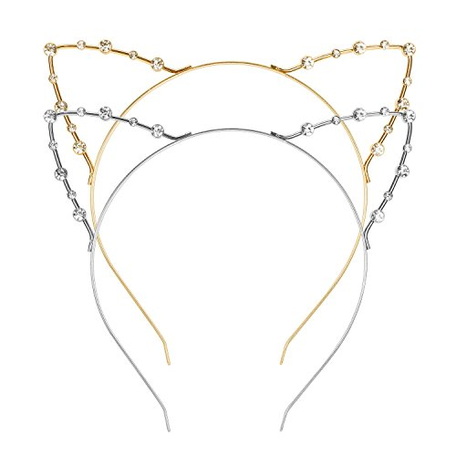 Girls Kitty Cheshire Costumes (Mudder Cat Ear Headband, 2 Pieces, Gold and Silver)