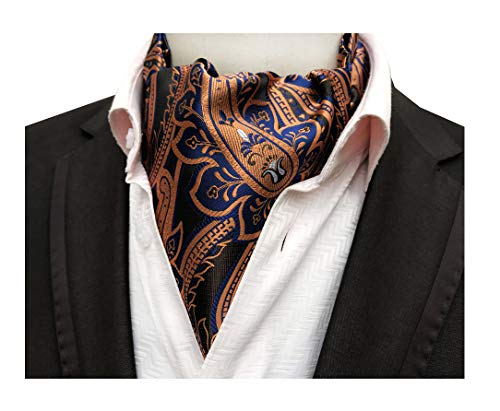Paisley Copper (Brass Blue Coppers Cravat Ascot Ties Paisley Patterned for Mens Wedding Banquet)