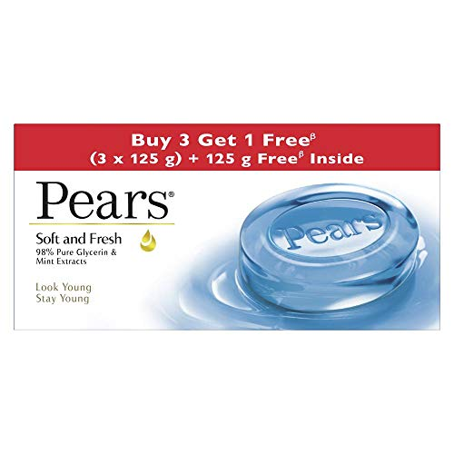 Pears Soft & Fresh Bathing Bar with 98% Pure Glycerine & Mint Extracts – For Fresh Glow (125g x 4)