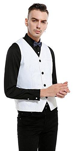 Gilet Slim Gessato Uomo Whatless Whatlees Elegante white B737 Sq5P4nvw6x