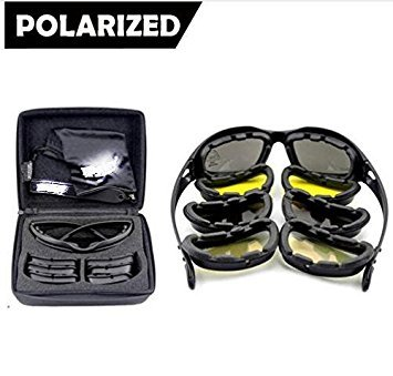 Mangocore New Polarized Army Goggles, Military Sunglasses 4 Lens Kit, Men's War Game Tactical Glasses Outdoor Sports Set of 9 - Sport Goggle