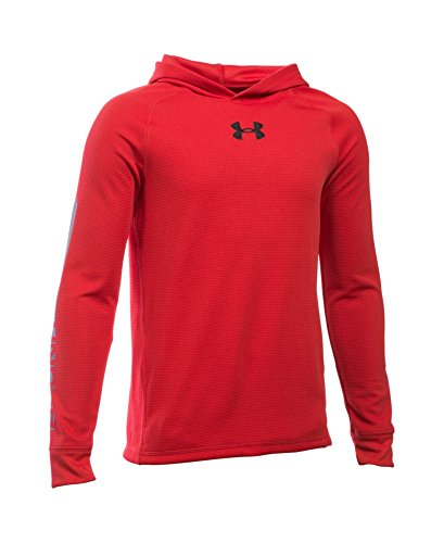 Under Armour Boys' Waffle Hoodie, Red/Graphite, Youth Medium