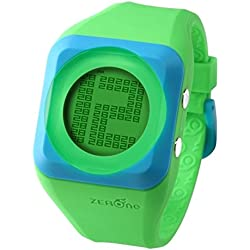 ZERONE HD Green Blue Digital Watch Hidden Digital