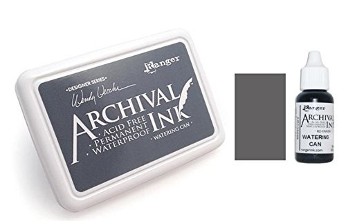 Ranger Wendy Vecchi Archival Watering Can Gray Permanent Dye Ink Stamp Pad & Re-Inker Refill by Ranger