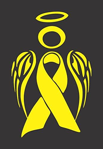 Barking Sand Designs Yellow Bone/Sarcoma Cancer Angel Ribbon Awareness - Die Cut Vinyl Window Decal/Sticker for Car/Truck